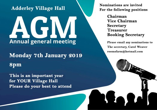 Village AGM Monday 7th January 20:00