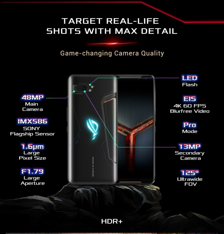 Great high Pixel Camera on Asus Rog II See the specs.