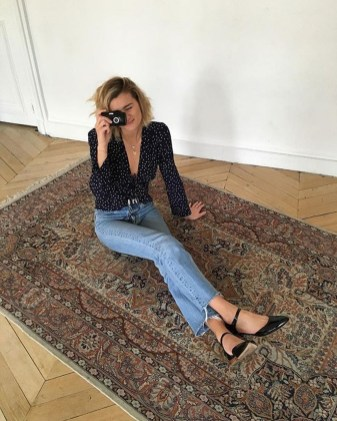 Magnificient Summer Outfit Ideas With Black Flats23