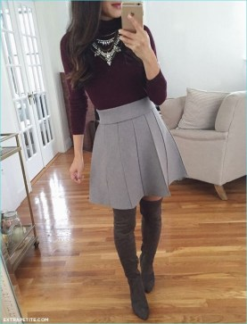 Adorable Winter Outfits Ideas Boots Skirts09