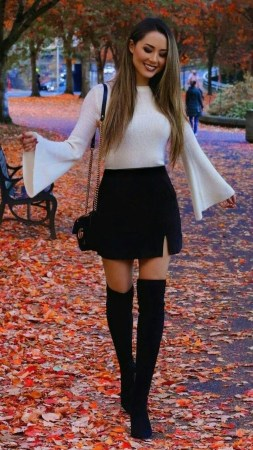 Adorable Winter Outfits Ideas Boots Skirts26
