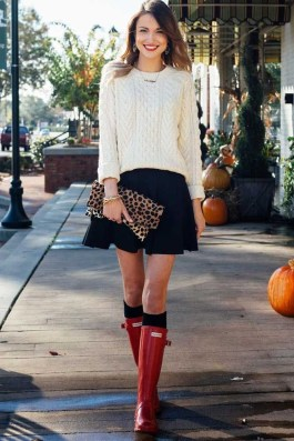 Adorable Winter Outfits Ideas Boots Skirts33