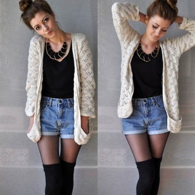 Charming Winter Outfits Ideas High Waisted Shorts35