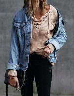 Delightful Winter Outfits Ideas Denim Jacket10