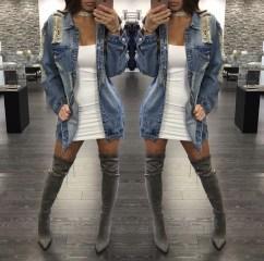Delightful Winter Outfits Ideas Denim Jacket32