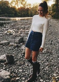 Fancy Winter Outfits Ideas Jean Skirts22