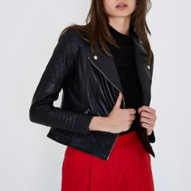 Pretty Winter Outfits Ideas Black Leather Jacket39