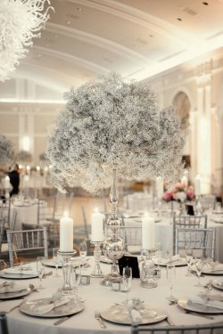 Classy Winter Wonderland Wedding Centerpieces Ideas16