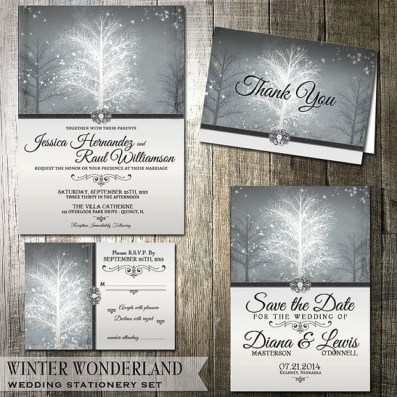 Popular Winter Wonderland Wedding Invitations Ideas31