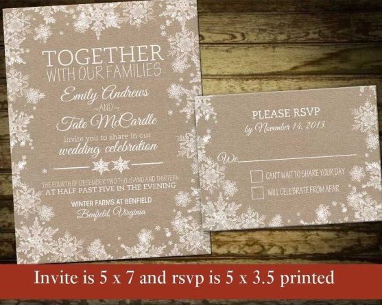 Popular Winter Wonderland Wedding Invitations Ideas36