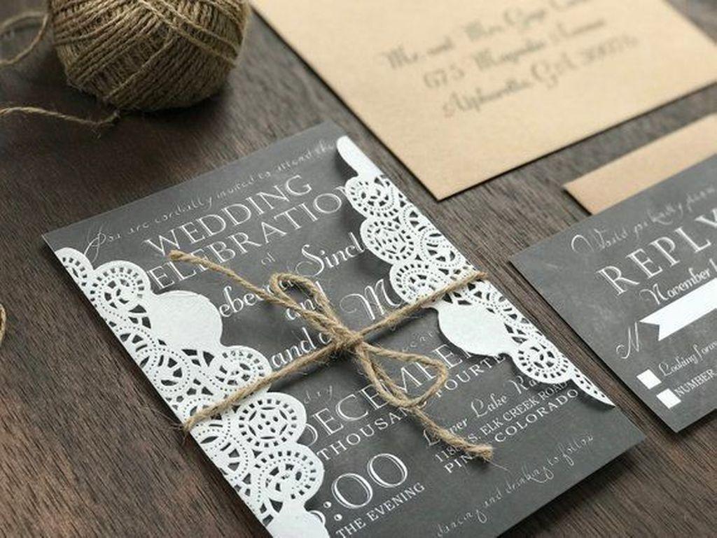Romantic Rustic Winter Wedding Invitations Ideas34