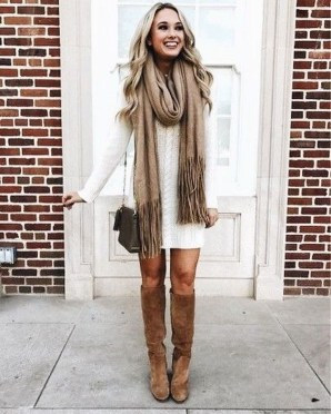 Awesome Winter Dress Outfits Ideas With Boots17