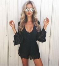 Adorable Black Romper Outfit Ideas25