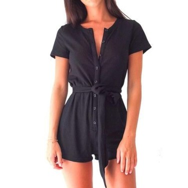 Adorable Black Romper Outfit Ideas38