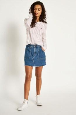 Elegant Denim Skirts Outfits Ideas For Spring25