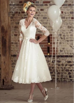 Gorgeous Tea Length Wedding Dresses Ideas16