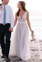 Pretty V Neck Tulle Wedding Dress Ideas For 201908