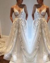 Pretty V Neck Tulle Wedding Dress Ideas For 201911