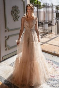 Pretty V Neck Tulle Wedding Dress Ideas For 201913