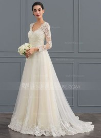 Pretty V Neck Tulle Wedding Dress Ideas For 201921