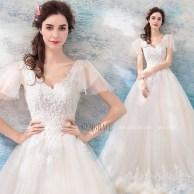 Pretty V Neck Tulle Wedding Dress Ideas For 201938