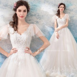 Pretty V Neck Tulle Wedding Dress Ideas For 201938