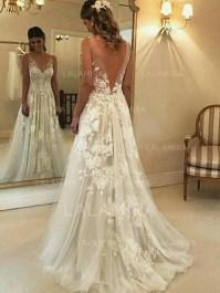 Pretty V Neck Tulle Wedding Dress Ideas For 201939