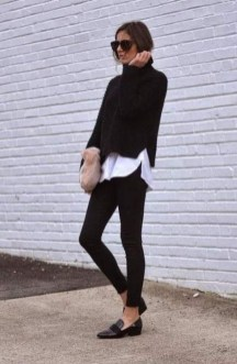 Fancy Work Outfits Ideas With Black Leggings To Copy Right Now14