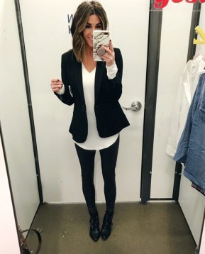 Fancy Work Outfits Ideas With Black Leggings To Copy Right Now18