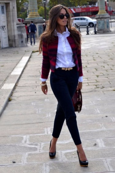 Fancy Work Outfits Ideas With Black Leggings To Copy Right Now28