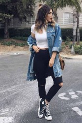 Flawless Outfit Ideas How To Wear Denim Jacket38