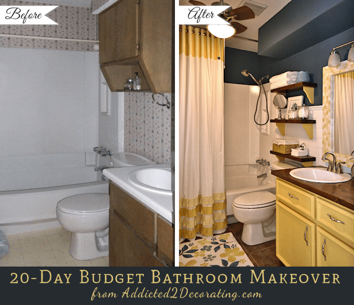 20day Small Bathroom Makeover  Before And After