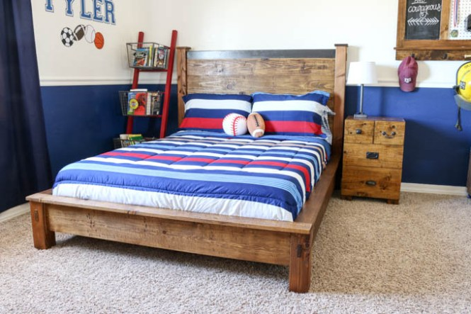 Build This Gorgeous Pb Inspired Rustic Double Bed Using The Free Printable Plans