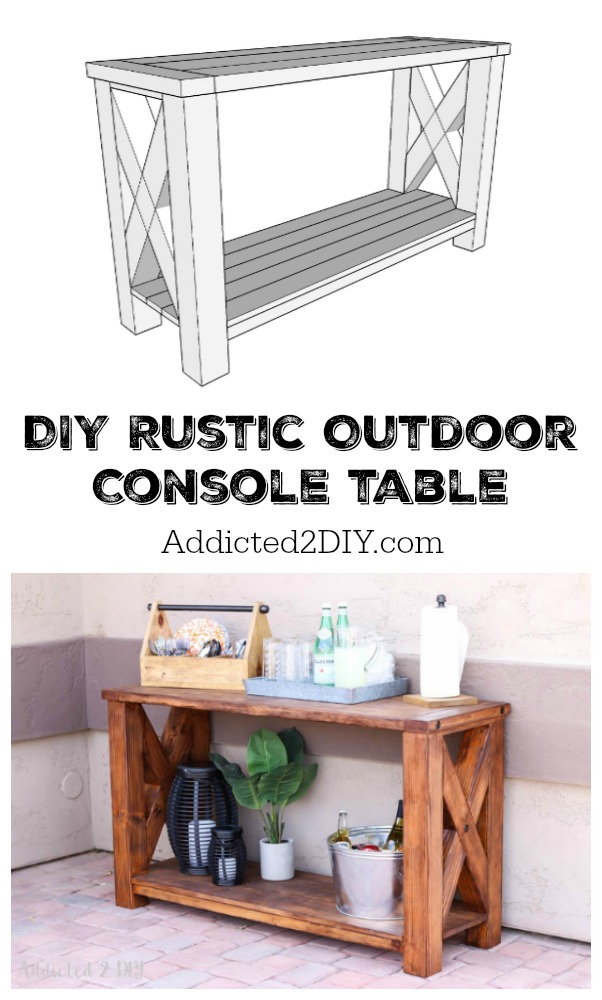build a rustic sofa table loveseat cover diy outdoor console great outdoors challenge