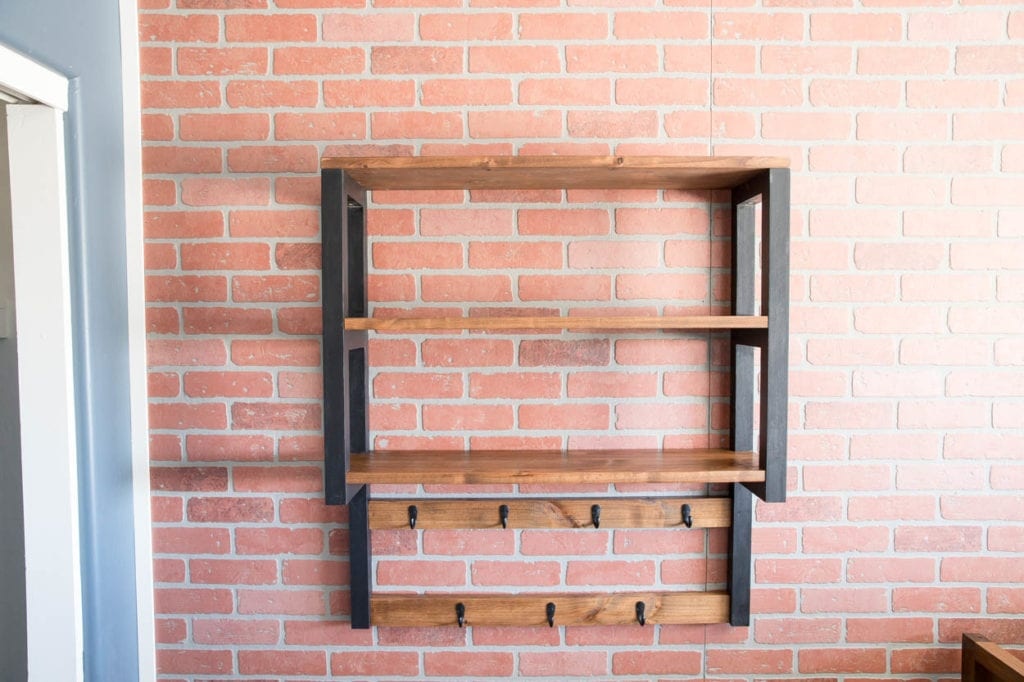 trophy shelf with attached hat rack
