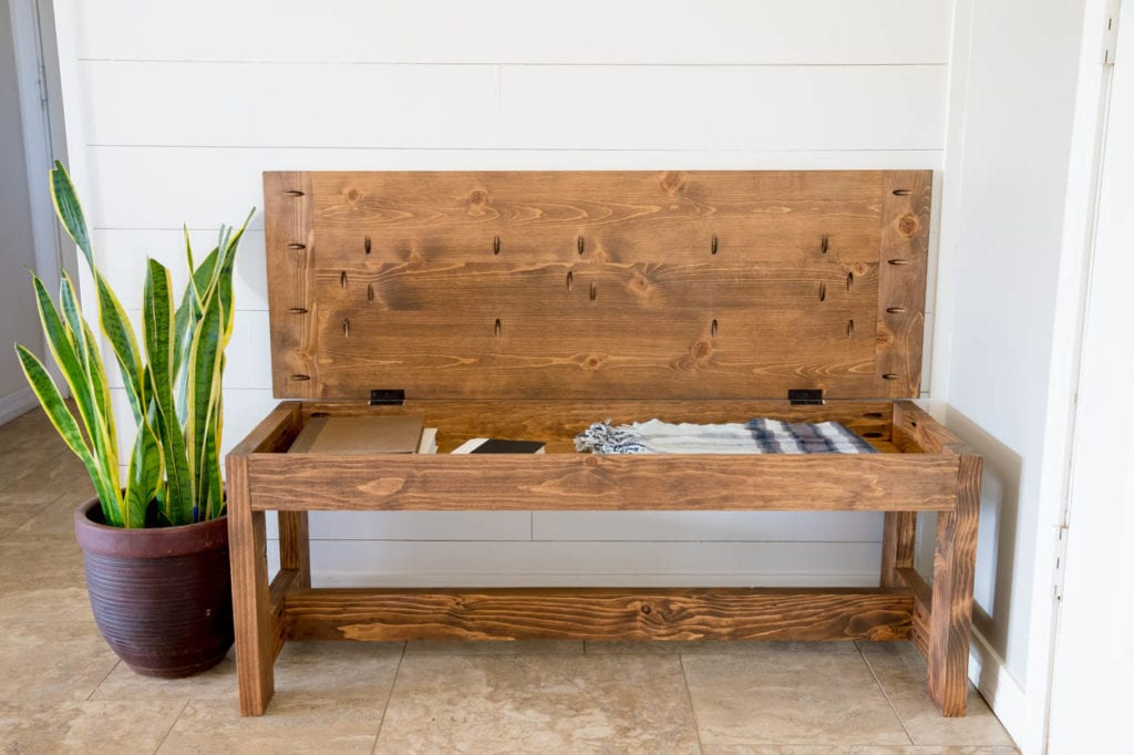 How To Build A Farmhouse Bench With Storage Addicted 2 Diy