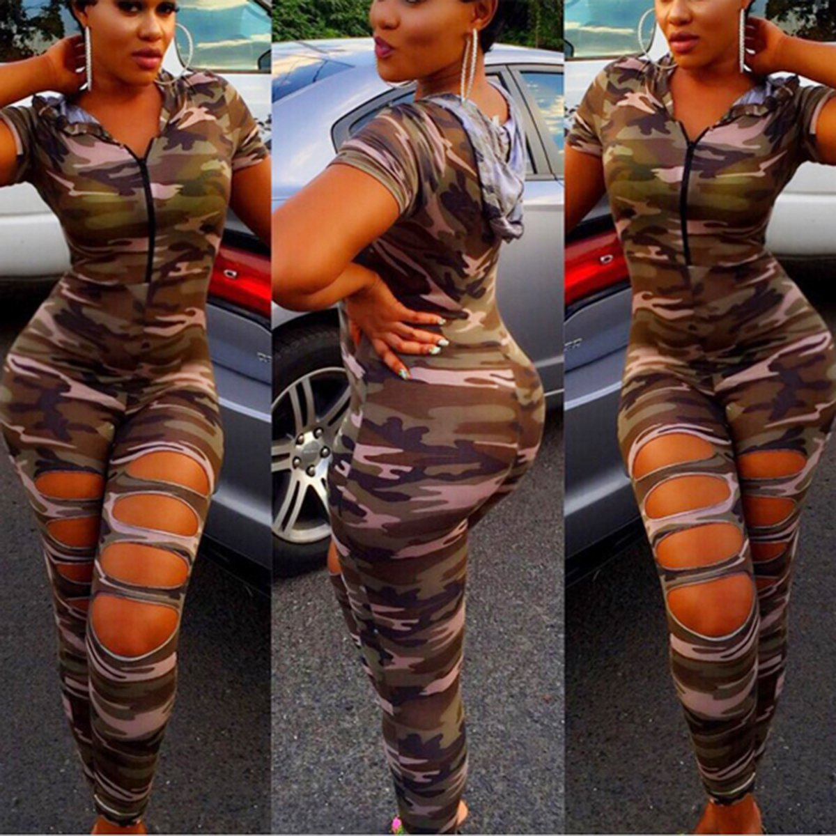 CAMOUFLAGE FRONT SLIT JUMPSUIT WHOODIE  ADDICTED2FASHION