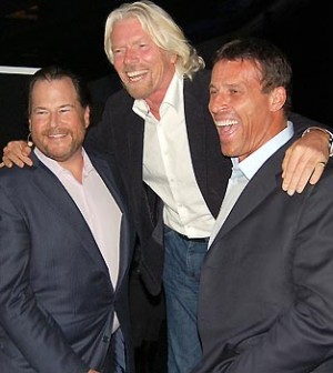 Tony Robbins Marc Benioff, Richard Branson Successful Friends