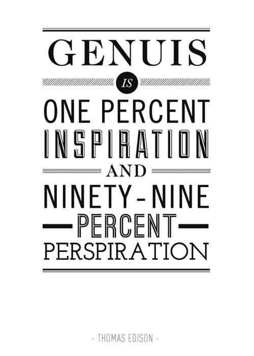 Inspirational perspiration typography quote
