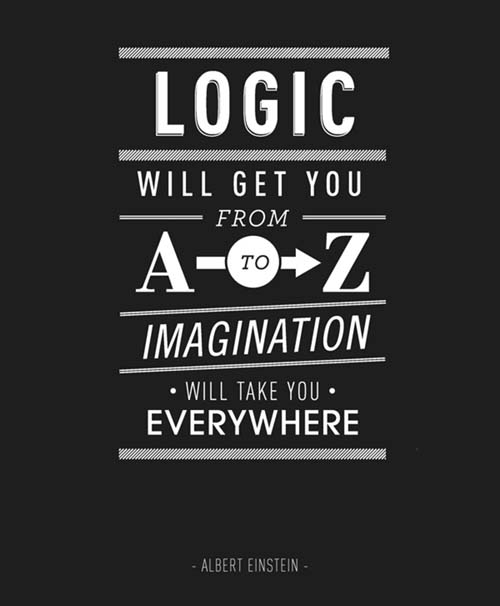 Inspiration Logic Typography Picture Quote by Einstein