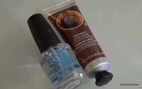 OPI Start to Finish, TBS Coconut Hand Cream