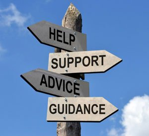 help, support, guidance sign