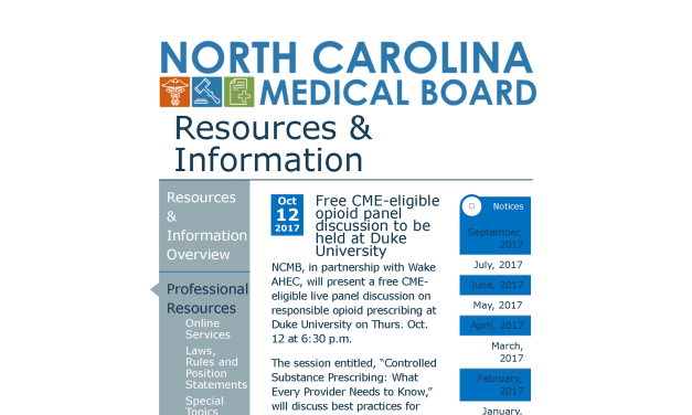 Governor's Institute Partners with NC Medical Board to Offer LIVE Opioid Training Across the State (Many Dates Available)