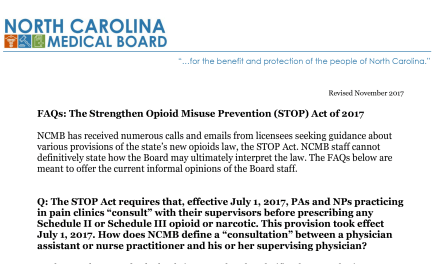 Updated Stop Act FAQs from NC Medical Board