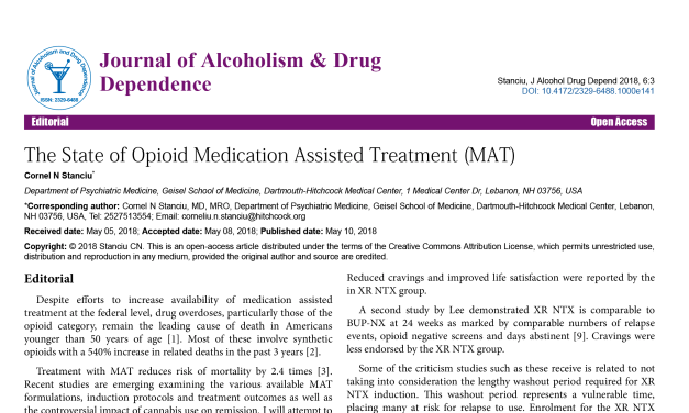 The State of Opioid Medication Assisted Treatment (MAT)