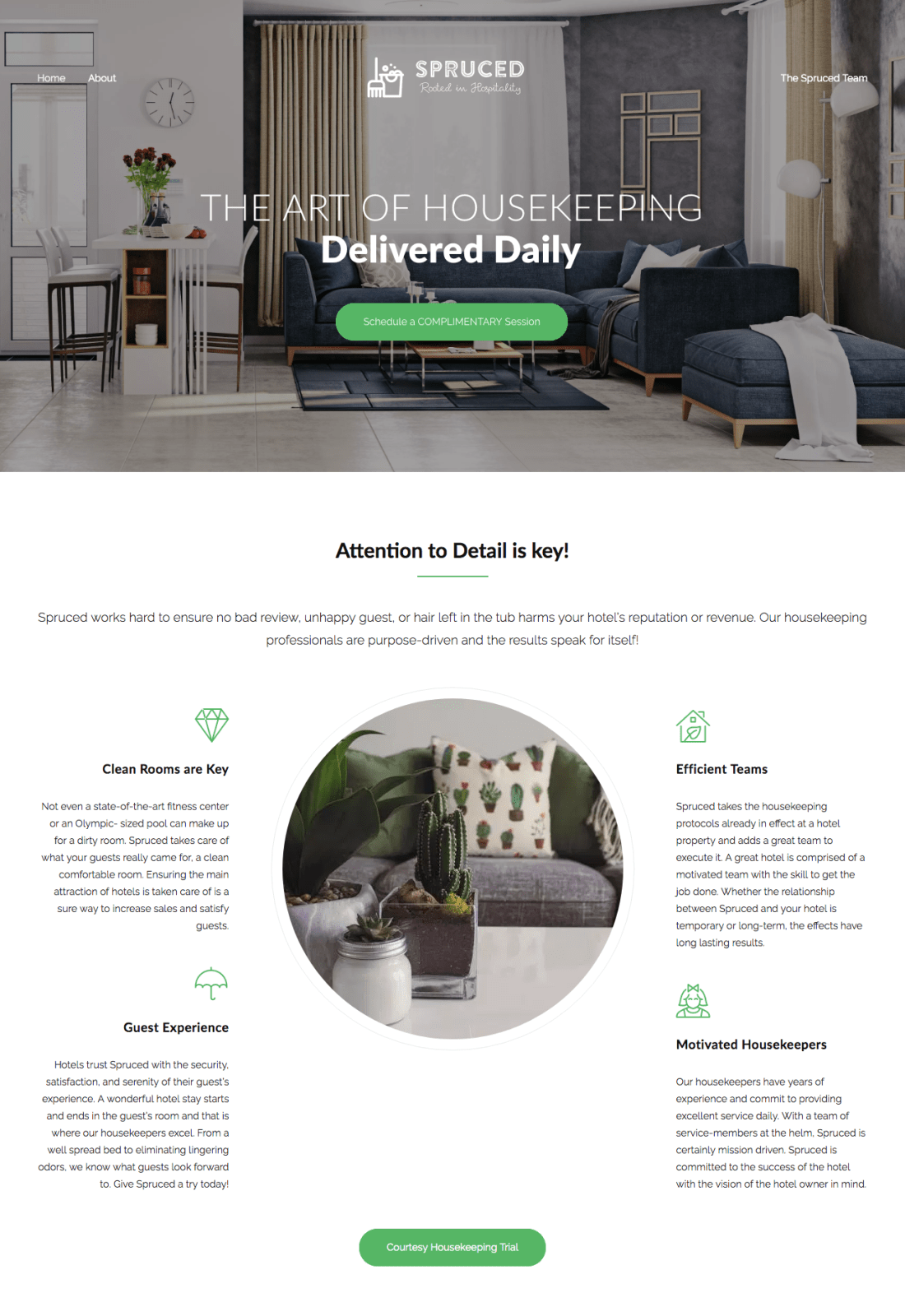 spruced - maid service website - wordpress website design services