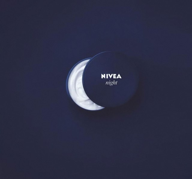 Nivea night ad showing the moon with their night cream.