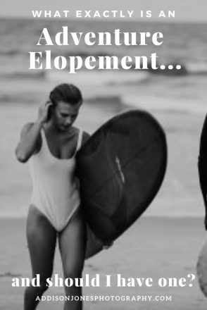 girl with surfboard, text- what exactly is an adventure elopement