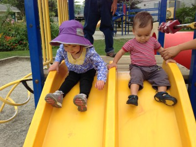 Fun on the slide with Luca