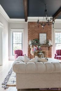 vintage-living-room-black-ceiling-brick-fireplace-dark ...